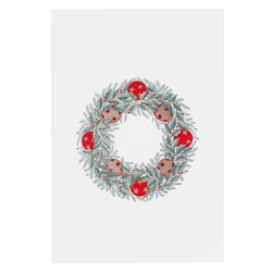 Red Ornament Wreath Card