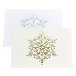 Gold and Silver Embossed Snowflake Cards
