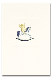 Engraved Childrens Card Gold Teddy Bear & Blue Rocking Horse
