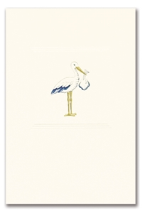 Engraved Childrens Card Blue Stork