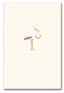 Engraved Childrens Card Pink Stork