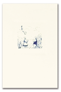 Engraved Childrens Card Blue Rabbits & Stork