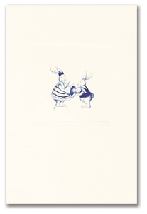 Engraved Childrens Card Blue Rabbits at Play