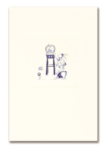 Engraved Childrens Card Blue Rabbit & High Chair